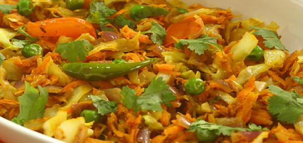 Carrot Cabbage Curry Indian Vegetarian Recipe